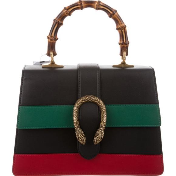 abe5b4a8bd3 Gucci Dionysus Medium Bamboo Stripe Satchel Bag